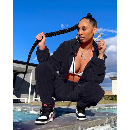 Black   Thick warm winter sports and leisure ladies suit