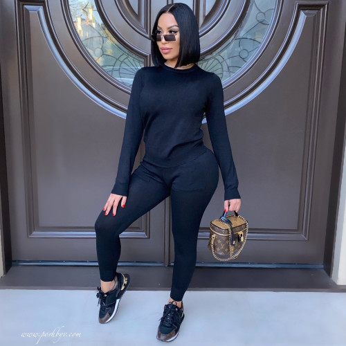 Black    Autumn and winter long-sleeved trousers solid color stretch two-piece suit