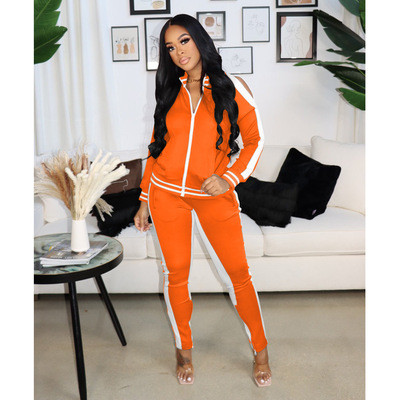 Orange  Autumn and winter popular sexy strapless zipper sports suit women