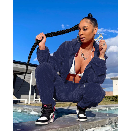 Blue Thick warm winter sports and leisure ladies suit