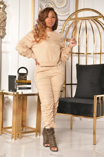 Kahki   Autumn and winter pile of sleeves pile of trousers crimped two-piece suit