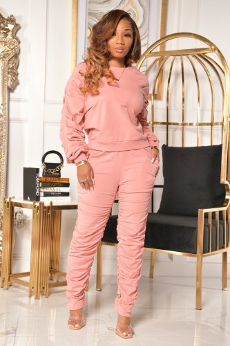 Pink   Autumn and winter pile of sleeves pile of trousers crimped two-piece suit
