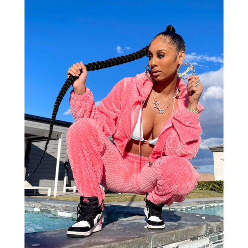 Pink   Thick warm winter sports and leisure ladies suit