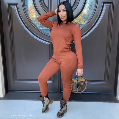 Orange  Autumn and winter long-sleeved trousers solid color stretch two-piece suit