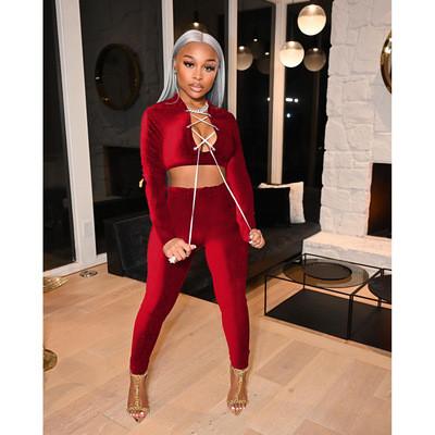 Red  Autumn and winter suit solid color velvet slim women's two-piece suit
