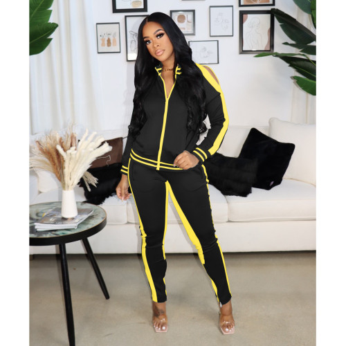 Black and yellow      Autumn and winter popular sexy strapless zipper sports suit women