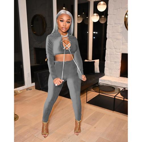 Grey  Autumn and winter suit solid color velvet slim women's two-piece suit