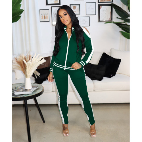 Dark green   Autumn and winter popular sexy strapless zipper sports suit women