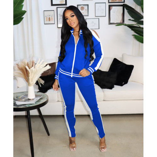 Black and white     Autumn and winter popular sexy strapless zipper sports suit women