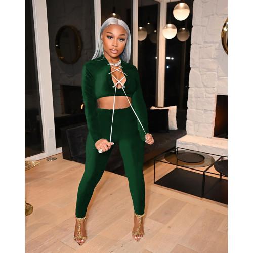 Dark green  Autumn and winter suit solid color velvet slim women's two-piece suit