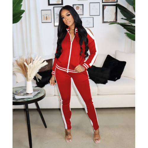 Red  Autumn and winter popular sexy strapless zipper sports suit women