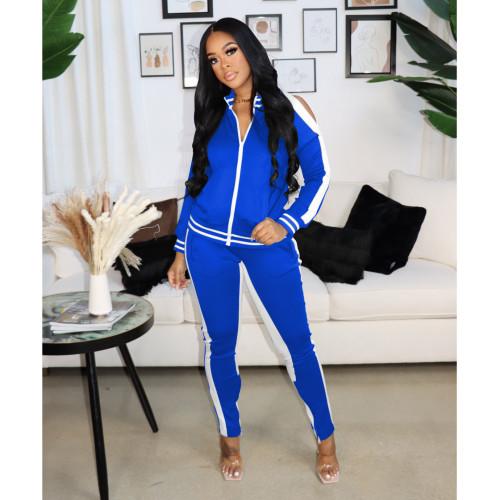 Blue    Autumn and winter popular sexy strapless zipper sports suit women