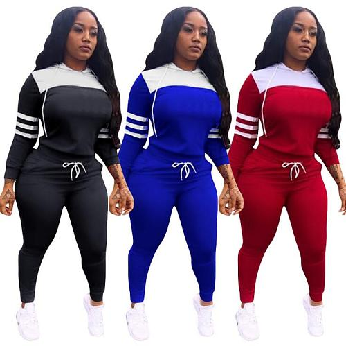 Casual Full Sleeves Hooded Patchwork Sport Sets Two Pieces YN-067