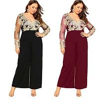 Women Lace Patchwork V-neck Wide Legs Jumpsuit Big Size LX-7009