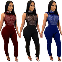Sleeveless Stand-up Collar Feather Rhinestone Mesh Sheer Sexy Jumpsuit OSM-4095