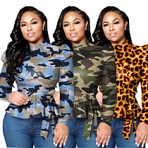 Half High Collar Camo Pullover Tops with Belt QY-5155