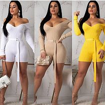 Sexy Plunging Thread Cloth Bodycon Solid Romper with Belt ARM-8118