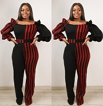 Sexy Off Shoulder Striped Women Jumpsuit QY-5046