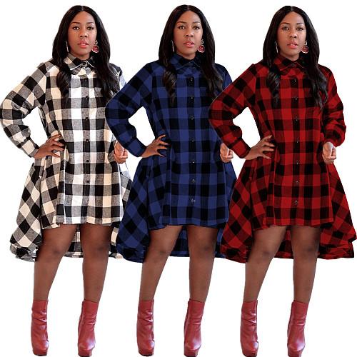 Women Plaid High-collared Button-down Skirt Dress CQ-5130