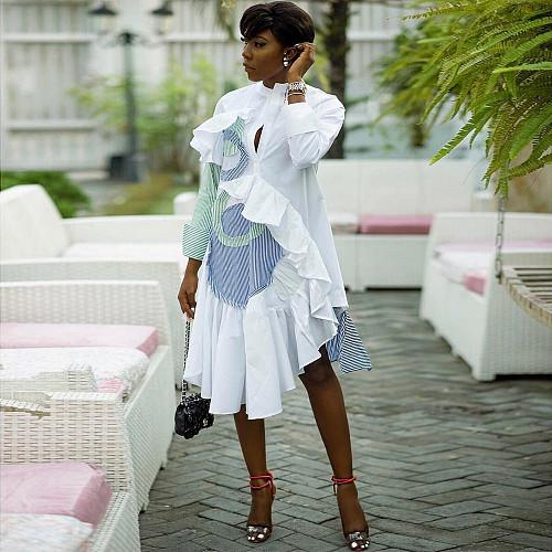 Women Lotus Leaf Sleeve Irregular Skirt Dress BN-9219