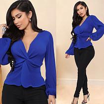 Women Blue V-Neck Top Long Sleeve Bow Blouse BLX-7024