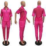 Women Lapel Half Sleeve Mesh Top+Long Solid Pants CM-572
