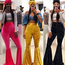Women Velvet Candy Color Bell-bottom Trousers BN-9204