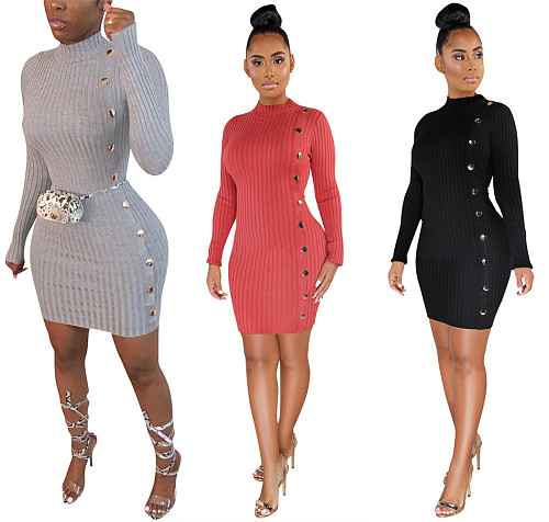 Solid Sexy Bodycon Breasted Decorated Women Dress LSL-6320