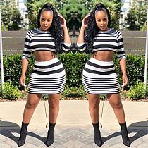 Women Stripe Sweater Crop Top+Lined Wrap Skirt LSL-8029
