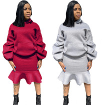 Puff Sleeve Hoodies Sweater and Flounced Skirt 2 Piece Set LS-0291