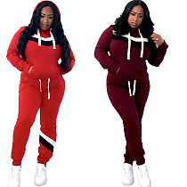 2020 Casual Hooded Pocket Two-piece Set LS-0292