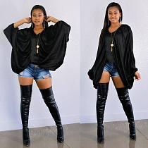 Women Solid Black Large Bat Sleeve V-neck Blouse LSL-6205