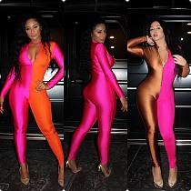 Women Sexy Zipper Long Sleeve Nightclub Jumpsuit LSL-6223