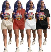 Fashion Printed Round Collar Shorts Set Two Pieces FNN-8199