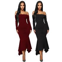 Women Solid Off Shoulder Irregular Hem Maxi Dress LDS-3195