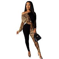 Leopard Diagonal Shoulder Women Two Pieces Set LDS-3199