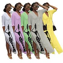 Fashion Print Split Long Shirt Dress MIL-042