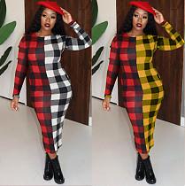 Fashion Plaid Round Collar Full Sleeve Ankle-length Maxi Dress MX-10850
