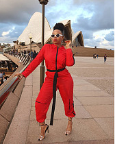 Red Front Zipper Patchwork Jumpsuit MX-10832