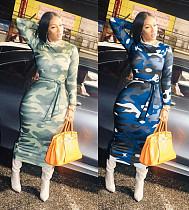2020 Fashion Camouflage Round Collar Full Sleeve Ankle-length Maxi Dress MX-10833