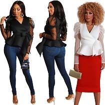 Women Mesh Sheer Patchwork Bind Tops MIL-069