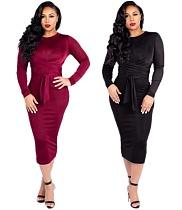 Women Velvet Round Collar Full Sleeves Bandage Maxi Dress MYP-8893