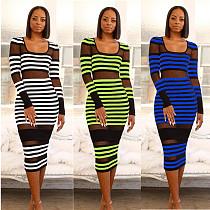 Women U Neck Full Sleeves Striped Mesh Skinny Maxi Dress MYP-8889