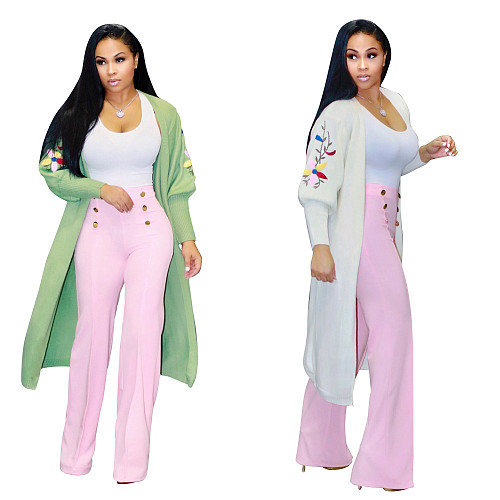 Women Solid Embroidered Long Sweater Cardigan MOY-5166