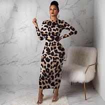 Stylish Leopard Print Skinny Ankle-length Maxi Dress MA-241