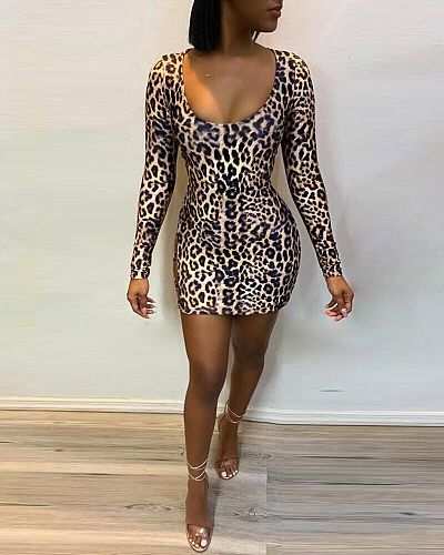 Sexy Backless Hollow Out Leopard Print Mini Bandage Dress MIL-062