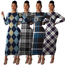 Elegant Woman Plaid Printed Round Collar Long Sleeves Ankle-length Maxi Dress MA-286