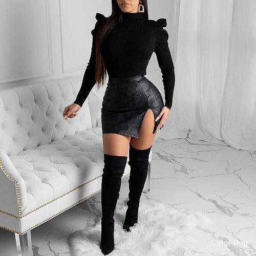 Women Snake Skin Side Split Wrap Skirt LSD-8659