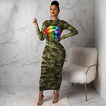 Fashion Lips Camouflage Printed Ankle-length Maxi Dress MA-281