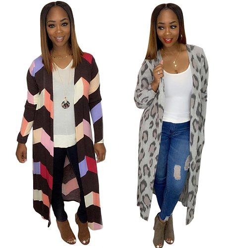 Casual Printing Full Sleeves Long Cardigan Tops MA-270